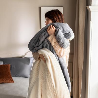 法芙娜家纺 2020新款吸湿复合休闲毯 加厚牛奶绒毛毯 单毛毯200*230cm 银川灰