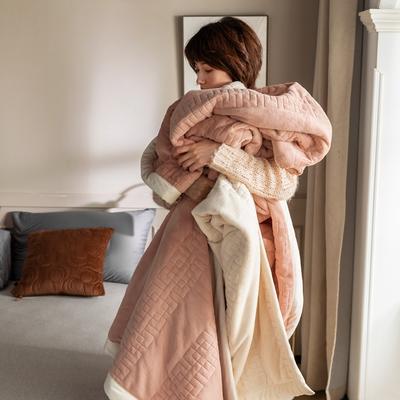 法芙娜家纺 2020新款吸湿复合休闲毯 加厚牛奶绒毛毯 单毛毯200*230cm 樱花粉