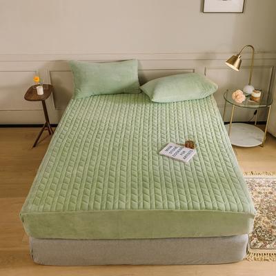 2020新款吸湿牛奶绒夹棉保暖床笠(可选三件套) 150cmx200cm单床笠 薄荷绿