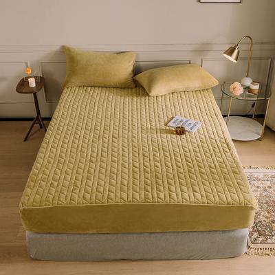 2020新款吸湿牛奶绒夹棉保暖床笠(可选三件套) 150cmx200cm单床笠 芥末黄