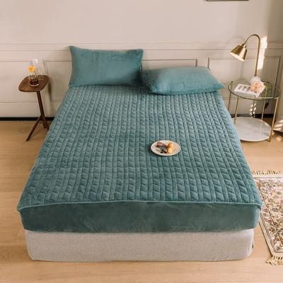 2020新款吸湿牛奶绒夹棉保暖床笠(可选三件套) 180cmx200cm单床笠 松石蓝