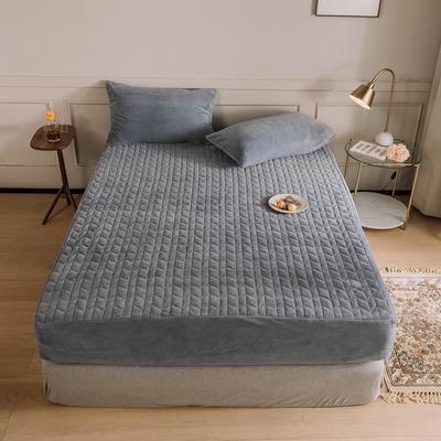 2020新款吸湿牛奶绒夹棉保暖床笠(可选三件套) 180cmx200cm单床笠 银川灰