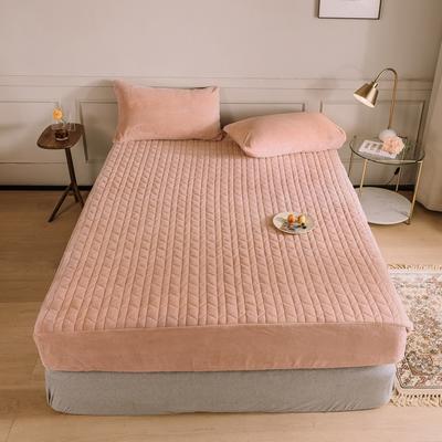 2020新款吸湿牛奶绒夹棉保暖床笠(可选三件套) 180cmx200cm单床笠 樱花粉