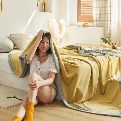 2020新款牛奶绒AB复合撞色毛毯 1.8*2.0mm 黄灰