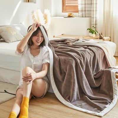 2020新款牛奶绒AB复合撞色毛毯 1.8*2.0mm 咖白