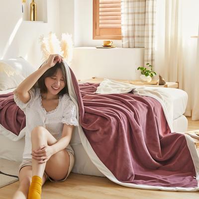 2020新款牛奶绒AB复合撞色毛毯 1.8*2.0mm 紫白