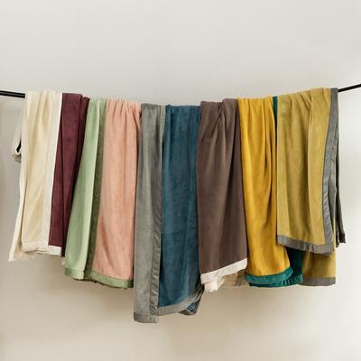 2020新款牛奶绒AB复合撞色毛毯 1.8*2.0mm 黄绿