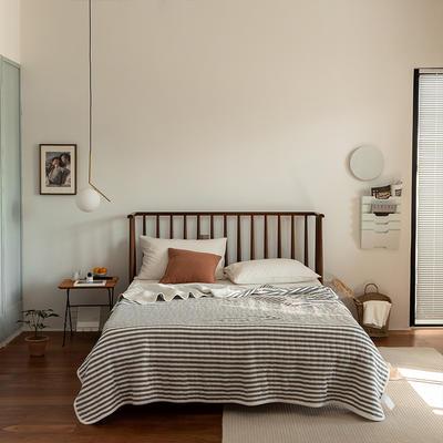 (总)法芙娜家纺 2021新款 针织棉夏被 全棉天竺棉夏凉被 150x200cm 灰色条纹