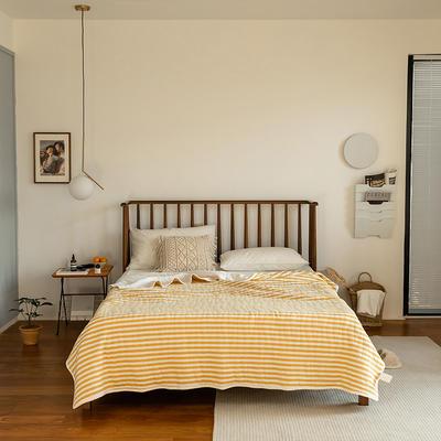 (总)法芙娜家纺 2021新款 针织棉夏被 全棉天竺棉夏凉被 150x200cm 姜黄条纹