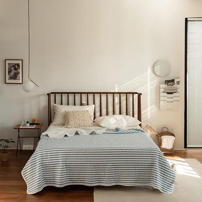 (总)法芙娜家纺 2021新款 针织棉夏被 全棉天竺棉夏凉被 180x200cm 蓝色条纹