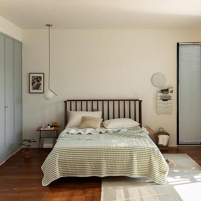 (总)法芙娜家纺 2021新款 针织棉夏被 全棉天竺棉夏凉被 150x200cm 墨绿条纹