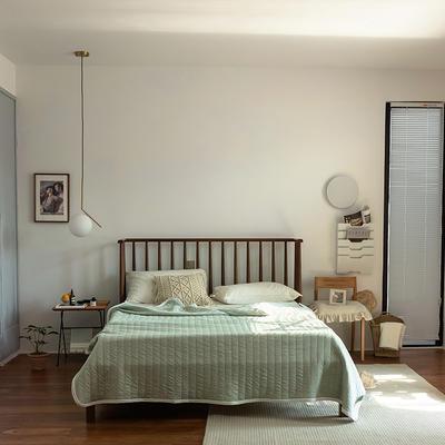 (总)法芙娜家纺 2021新款 针织棉夏被 全棉天竺棉夏凉被 150x200cm 纯色豆绿