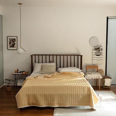 (总)法芙娜家纺 2021新款 针织棉夏被 全棉天竺棉夏凉被 150x200cm 纯色姜黄