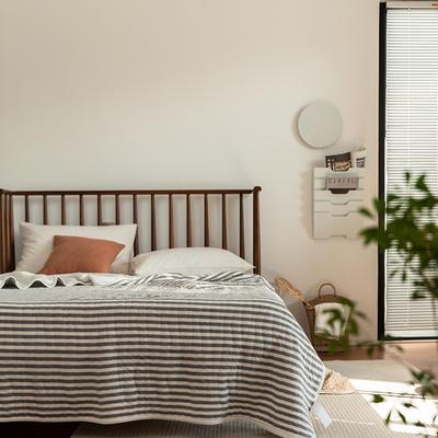 法芙娜家纺 2021 针织棉夏被 全棉天竺棉夏凉被 灰色条纹 150x200cm 灰色条纹