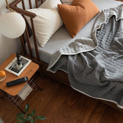 法芙娜家纺 2021 针织棉夏被 全棉天竺棉夏凉被 纯色深灰 150x200cm 纯色深灰