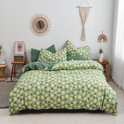 2020新款-生态棉活性印染碎花四件套 1.8m床单款四件套 向日葵-绿