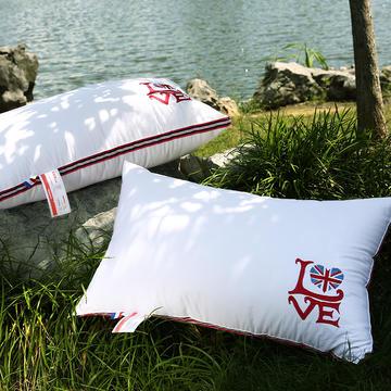 沃兰国际 全棉贡缎绣花护颈立体枕芯安睡助眠枕头