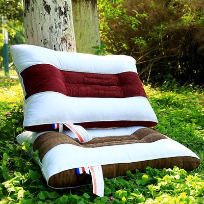 纯棉中条保健护颈枕芯安睡枕头两色可选 咖色