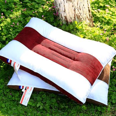 纯棉中条保健护颈枕芯安睡枕头两色可选 红色