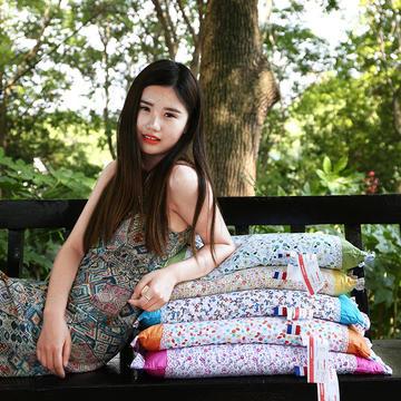 沃兰国际 纯棉可拆洗韩式全荞麦保健枕芯护颈枕头(多色可选)