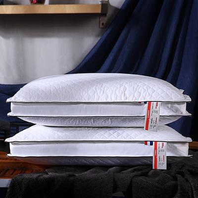 全棉加高绗缝立体护颈枕芯五星级枕头双边保健枕 本白