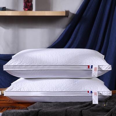 全棉酒店方格绗缝立体护颈枕芯五星级枕头 本白