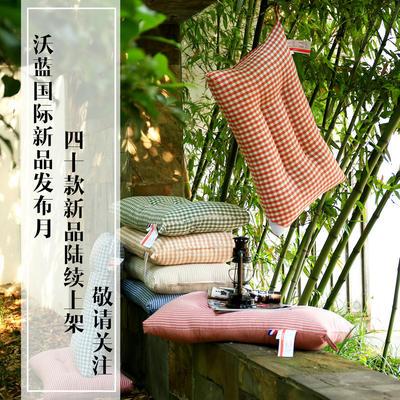 宜家风全棉水洗棉定型枕芯护颈枕头(七色可选) 绿色小格