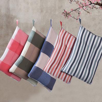 水洗棉简欧风羽丝绒枕芯单人枕头护颈舒适枕枕(五色可选) 红粉大格