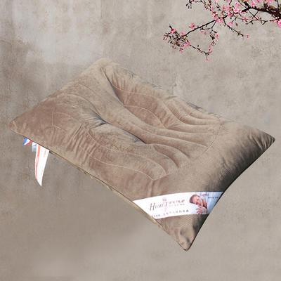 全棉咖色决明子蚕丝护颈保健枕芯 立体定型加厚枕头 全棉灯芯绒决明子加高保健枕