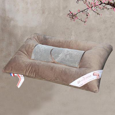 全棉咖色决明子蚕丝护颈保健枕芯立体定型硬枕头 全棉灯芯绒决明子透气保健枕