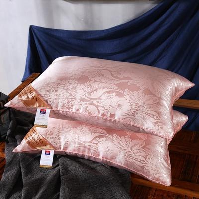 超柔仿真丝大提花护颈立体枕芯安睡助眠枕头 粉玉色