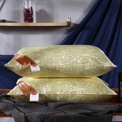 沃兰国际 超柔仿真丝大提花护颈立体枕芯安睡助眠枕头 米黄色