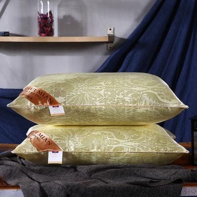 超柔仿真丝大提花护颈立体枕芯安睡助眠枕头 米黄色