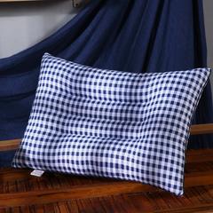 沃兰国际 超柔磨毛定型护颈立体枕芯安睡助眠枕头 蓝格