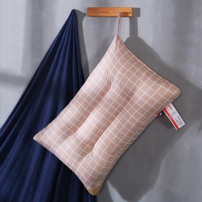 超柔磨毛定型可水洗枕芯保健护颈枕头 大格卡其