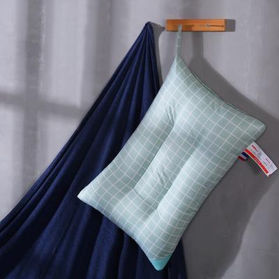 超柔磨毛定型可水洗枕芯保健护颈枕头 水绿大格