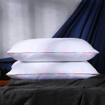 超柔七彩边磨毛羽丝绒枕芯护颈保健枕头