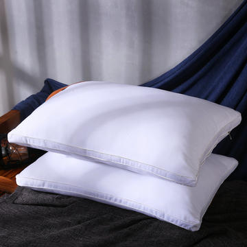 超柔素雅白立体磨毛羽丝绒枕芯护颈保健枕头