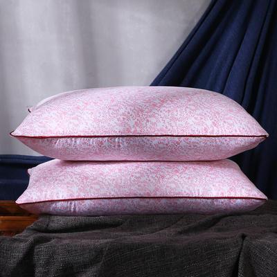 超柔粉色花磨毛羽丝绒枕芯护颈保健枕 粉色花安睡枕