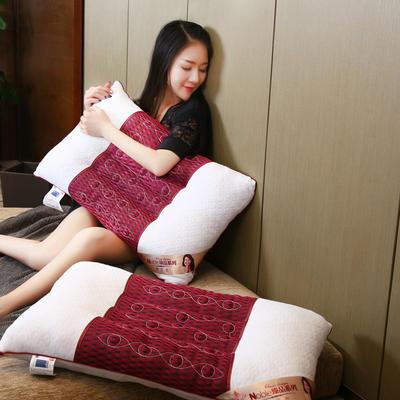 针织棉磁疗透气护颈保健枕芯安睡助眠枕头 红色磁疗枕
