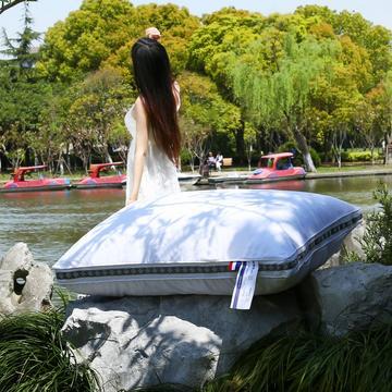 沃兰国际 全棉立体高回弹羽丝绒枕芯安睡舒眠枕头灰织带