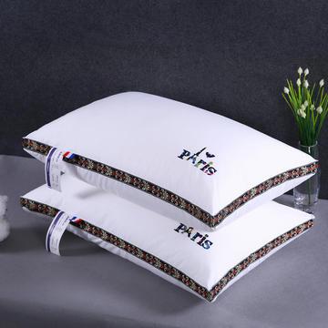 沃兰国际 全棉酒店织带立体护颈枕芯五星级定型烫花枕头芯