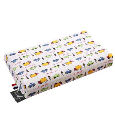 泰国进口天然乳胶枕芯护颈椎婴童曲线枕头(送内外套 六色) 小汽车(44*28cm)