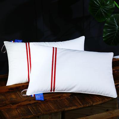 全棉贡缎织带护颈枕芯五星级枕头呵护安睡枕 全棉红色织带安睡枕
