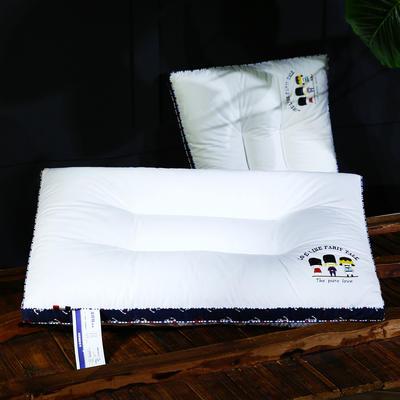 全棉加高烫画立体护颈枕芯五星级枕头定型保健枕 全棉立体定型枕(三个火枪手)蓝边