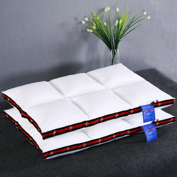 高端低枕 全棉贡缎酒店织带立体护颈羽丝绒枕芯定型低薄软枕头
