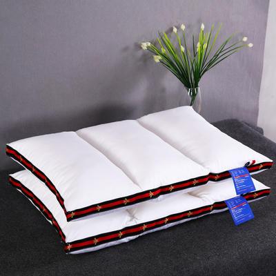 全棉酒店织带立体护颈枕芯多型号定型低枕头 三竖条-蜻蜓款