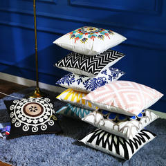 沃兰国际 全棉毛线刺绣花靠垫抱枕方垫芯碎乳胶枕芯方枕头 45x45cm WL-01