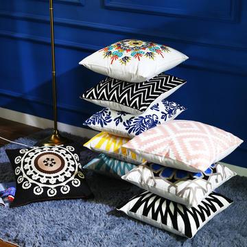 全棉毛线刺绣花靠垫抱枕方垫芯碎乳胶枕芯方枕头