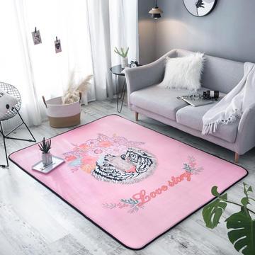 奕晨 北欧地毯卧室地垫客厅茶几水晶绒面大版花垫子老虎粉